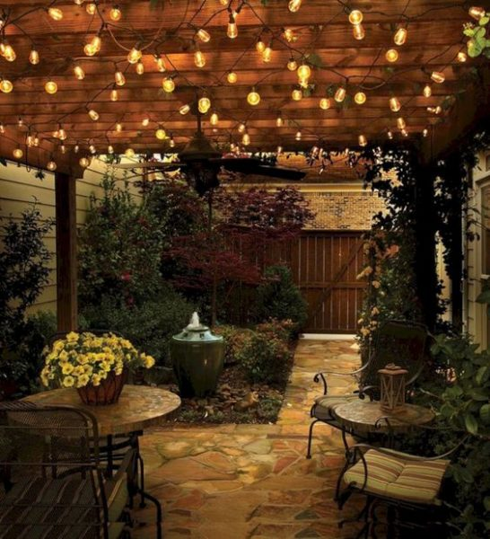 outdoor patio with string lights