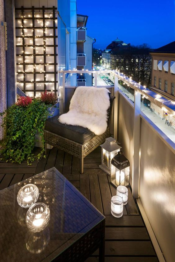 modern glam patio with lights