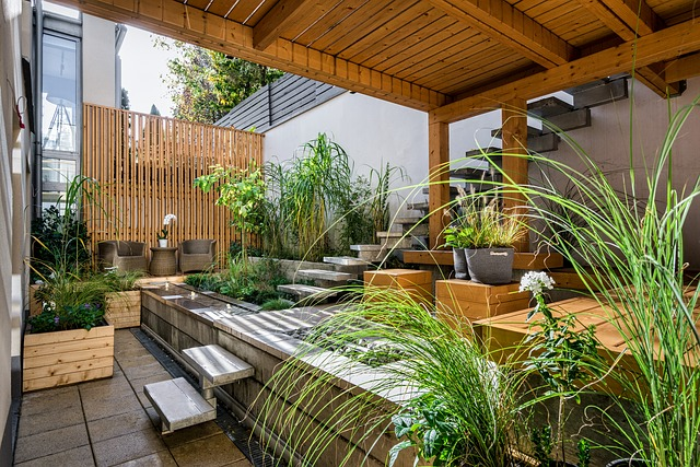 green patio with plants