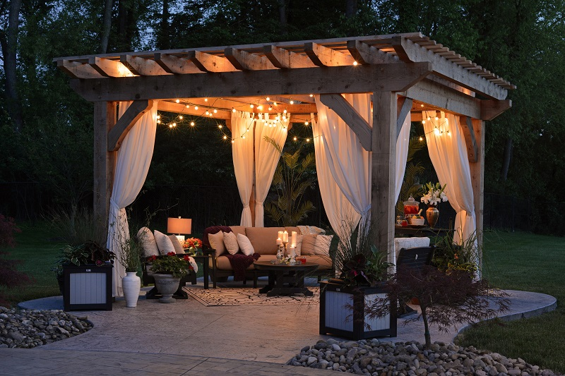 beautiful patio at nighttime