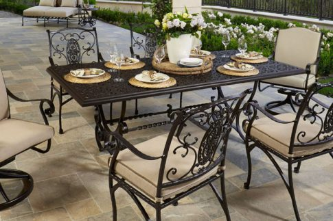 wrought iron patio chairs and table